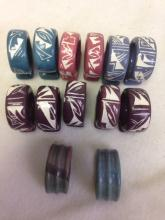 Lot 169: handmade ceramic Napkin Rings Southwestern Design