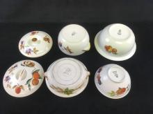 Lot 177: Set of Royal Worcester Fine Porcelain China Serving Dishes in Eavesham Gold Pattern 4 Bowls with 2 Lids