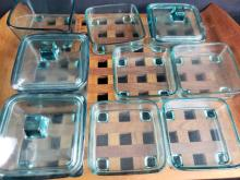 Lot 176: Wood Tray with Glass Storage Dishes