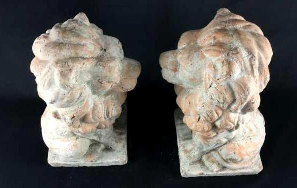 Lot 18: Vintage Cast Clay Lion Garden Statues