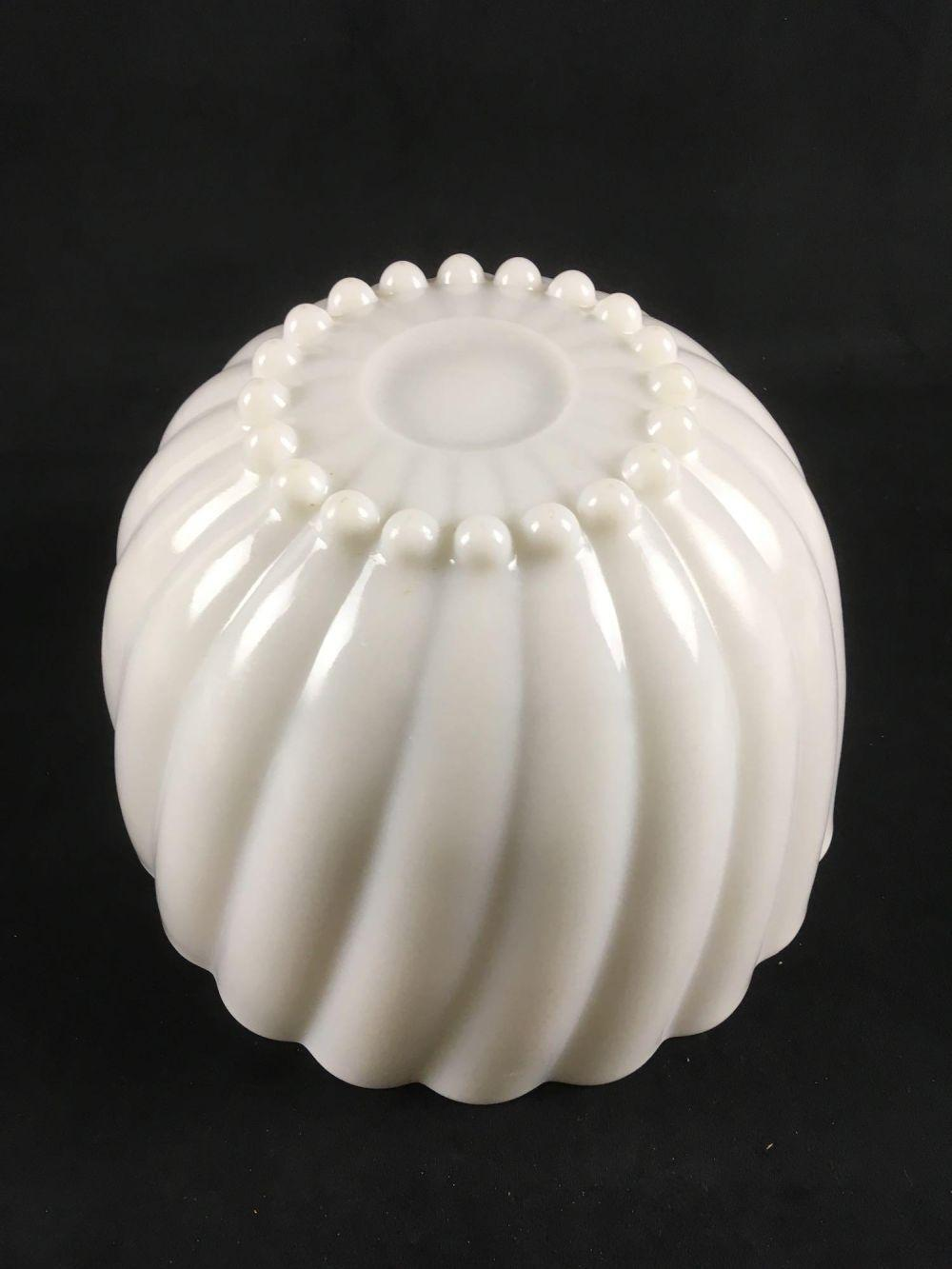 Lot 184: Vintage White Milk Glass Punch Set Bowl and 6 Cups