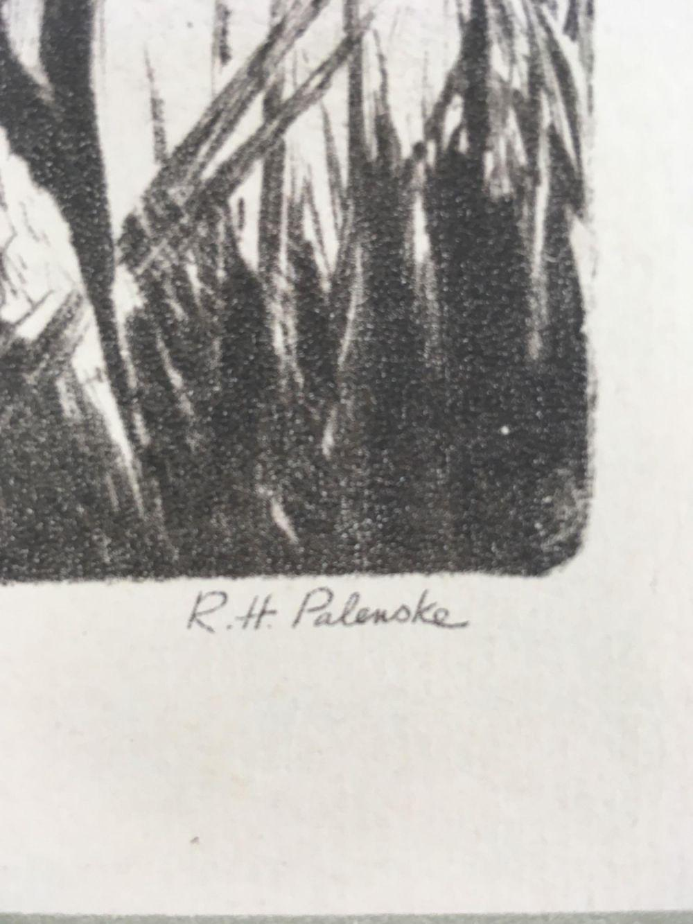 Lot 181: Reinhold Palenske Original Drypoint Wildlife Prints