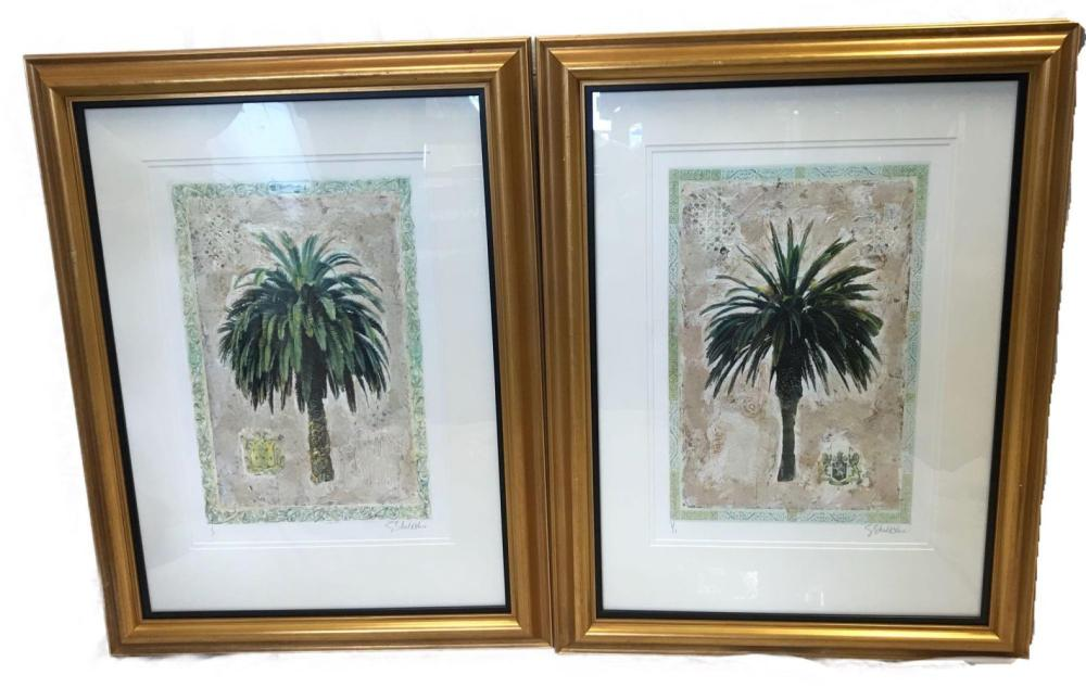 Pair of Very Fine Prints of Palm Trees, Numbered and Signed