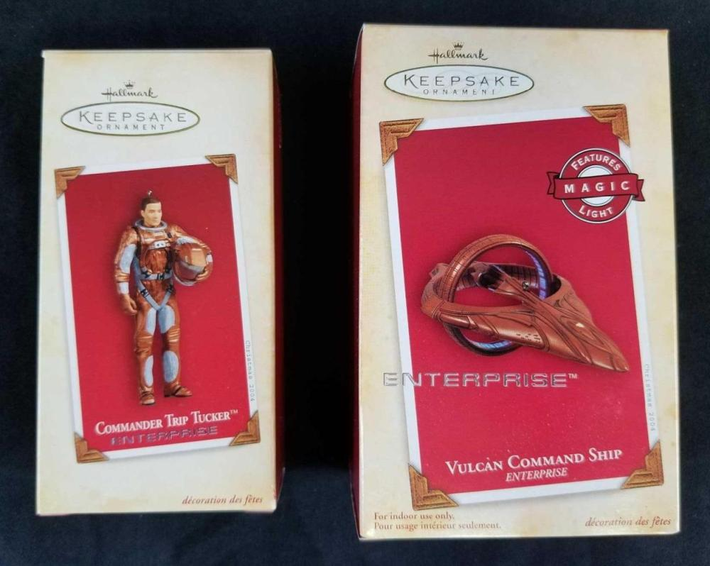 Lot 190: Commander Trip Tucker and Vulcan Command Ship from Enterprise Hallmark Ornaments