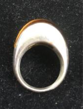 Lot 196: Vintage Artisan Sterling Silver Catseye Ring