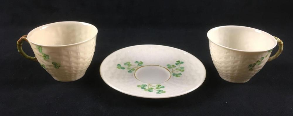 Belleek Ireland 2 Shamrock Basket Weave and Twig Handle Cups and Saucer