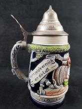 Lot 200: A Noisy Flight German Beer Stein with Pewter Lid