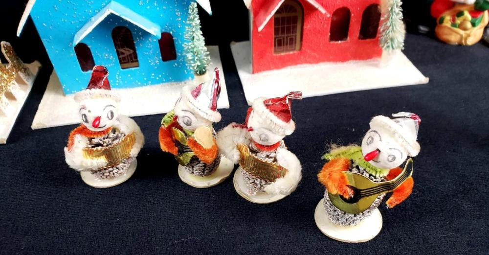 Lot 199: Adorable Handmade Christmas Miniature Paper Town with Pine Cone Figures Dog Reindeer and Santa
