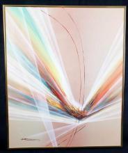 Lot 201: S Stevenson Original Oil Abstract Painting Framed on Canvas