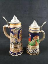 Lot 204: Lot of 2 German Musical Beer Steins with Beautiful Detail