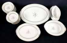 Lot 206: Noritake China Japan Kent 5422 Pink Flower Fine China Set of 27 Pieces