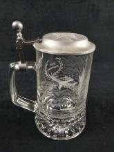 Lot 209: Statue Of Liberty 100th Anniversary Glass Commemorative Beer Stein w/ Pewter Lid