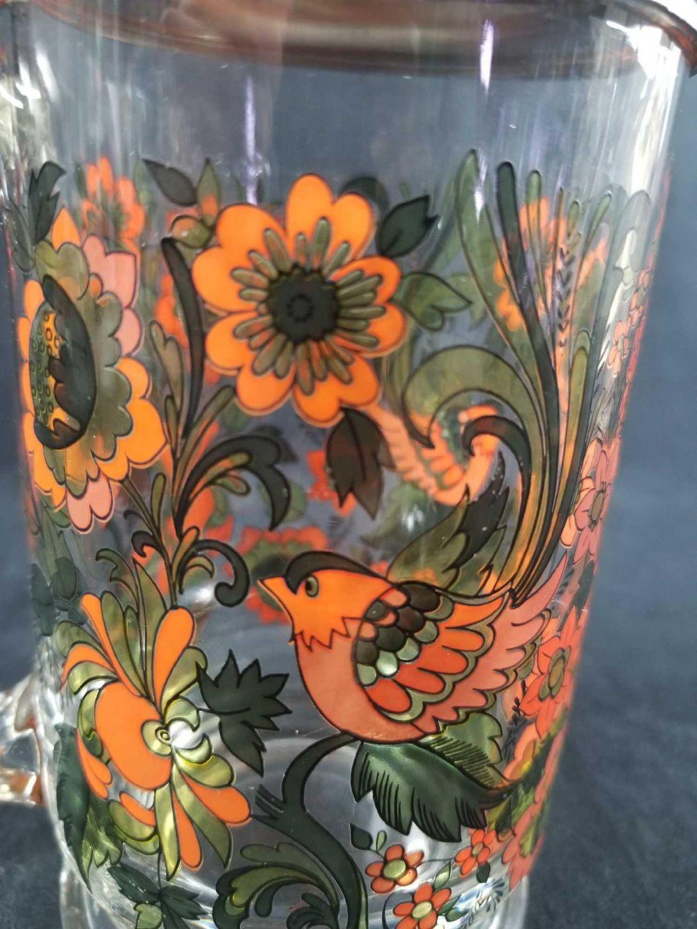 Lot 210: Italian Floral Glass Beer Stein