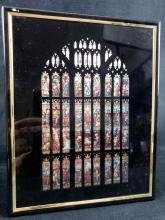 Lot 211: Gothic Religious Biblical Stained Glass Window Framed Kafka Screened Foil Etching