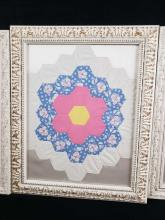 Lot 213: Lot of 3 Framed Handmade Quilted Art Pieces