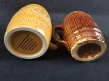 Lot 214: Set of 2 Log Like Ceramic Steins