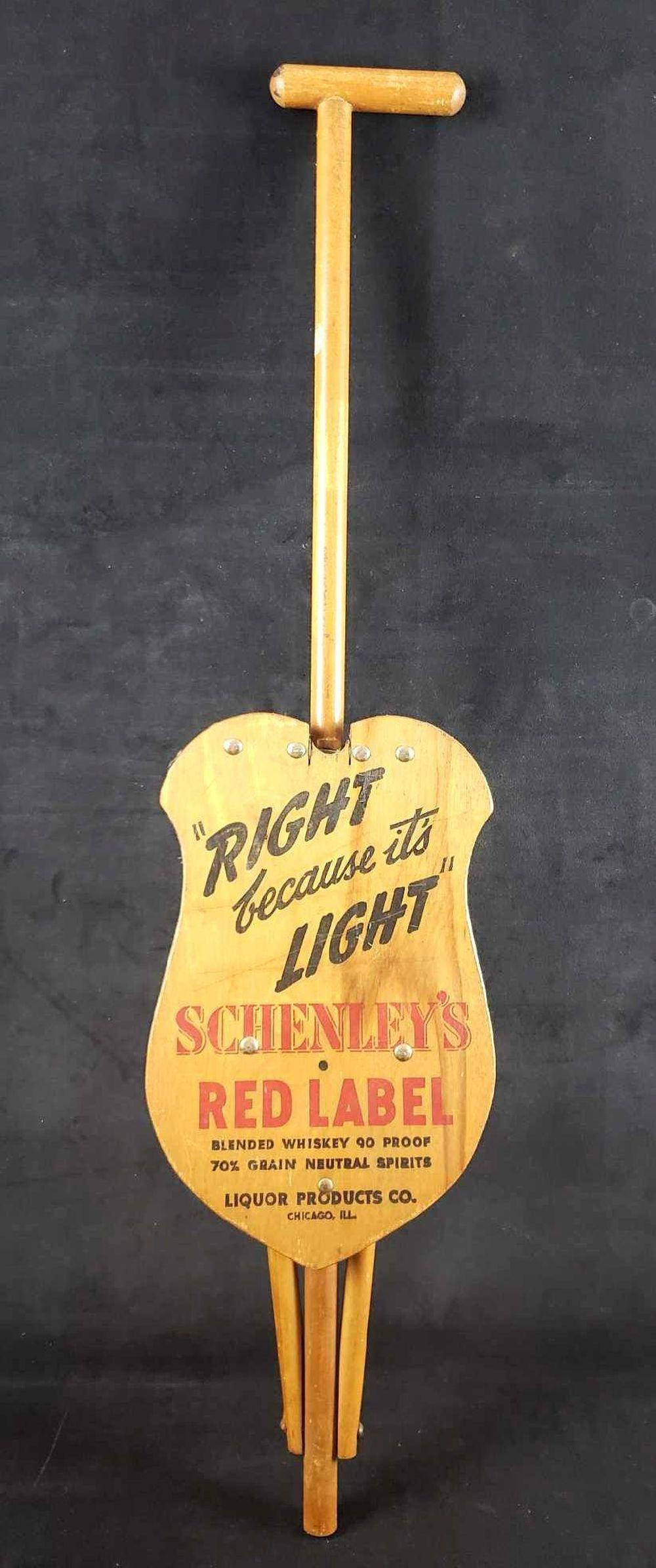 Lot 219: Right Because Its Light Schenleys Red Label Blended Whiskey 90 Proof Promotional Vintage Walking Stick