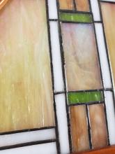 Lot 221: Tiffany Style Geometric Abstract Art Deco Stained Glass Lamp