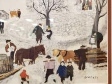 Lot 23: Sugaring Off By Grandma Moses Framed Print