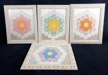 Lot 238: Set of 4 Framed Handmade Hexagon Quilted Artworks