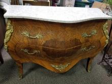 Lot 24: Vintage Louis XV Style Commode with Brass Ormole and Marble Top