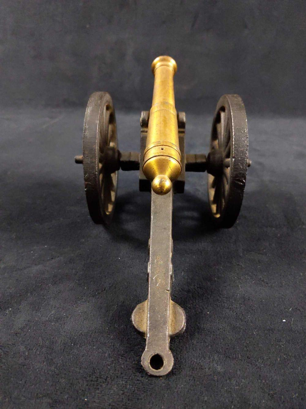 Lot 244: Cast Iron and Brass Miniature Civil War 5 Inch Cannon
