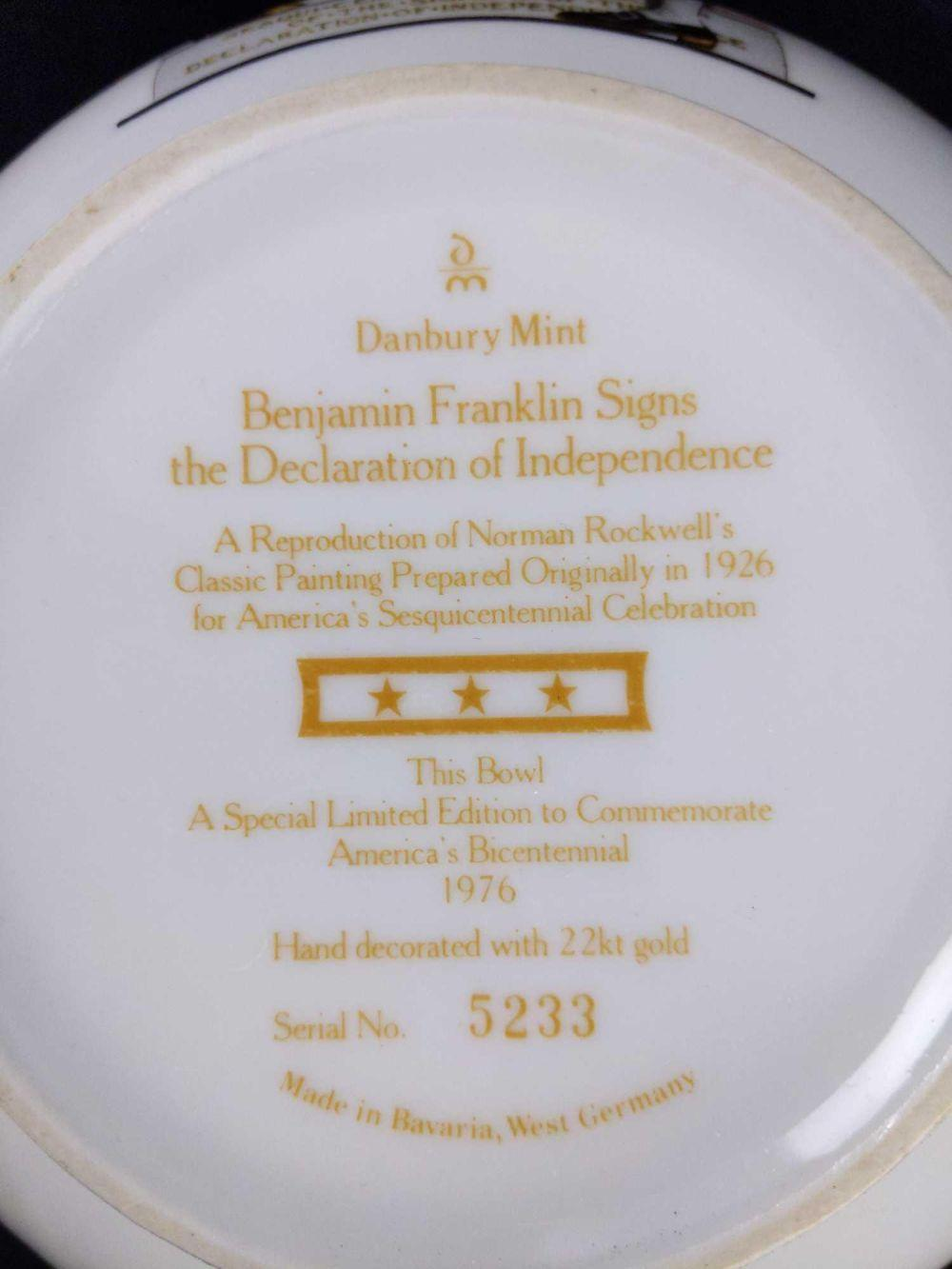 Lot 246: 1976 Danbury Mint Benjamin Franklin Collector Bowl