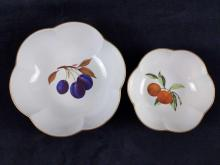 Lot 247: 1961 Vintage Evesham Scalloped Bowls With Fruits Lot of 2