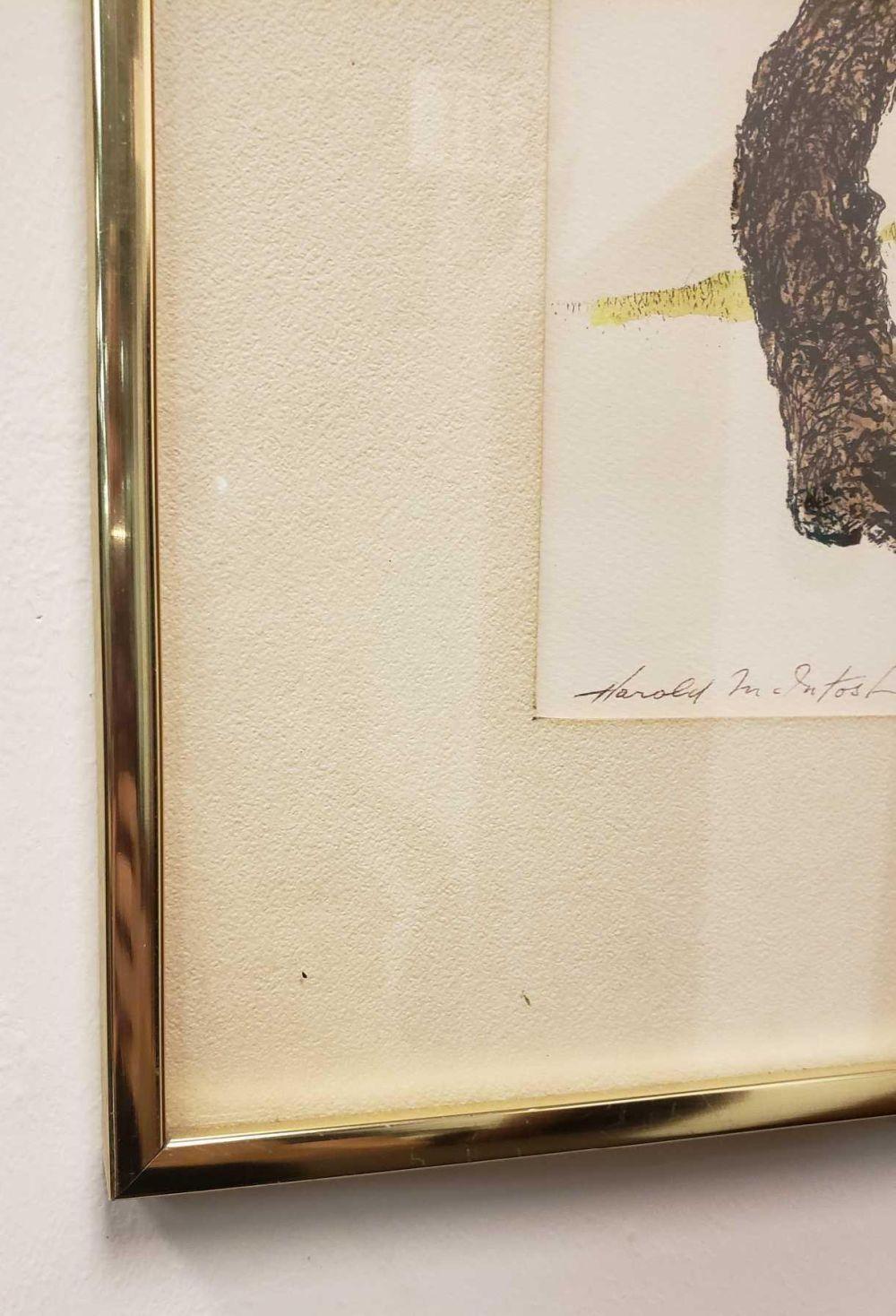 Lot 25: Signed Framed Harold McIntosh Owl Lithograph