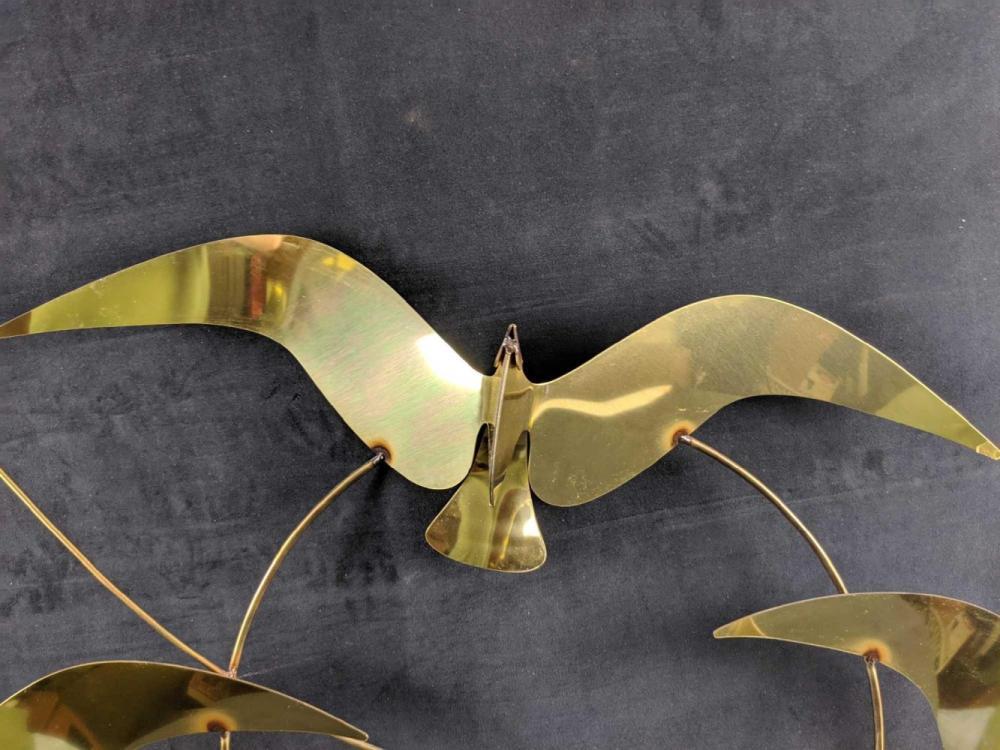 Lot 251: Signed Curtis Jere Brass Seagull BIRDS Wall Sculpture 1985