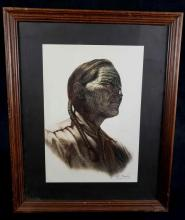 Lot 253: HE Hughes 1985 Native American Framed Signed Lithograph