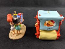 Lot 261: Set Of Two Flintstones Hallmark Keepsake Ornaments Retired