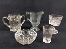 Lot 266: Clear Cut and Pressed Glass Lot of 5
