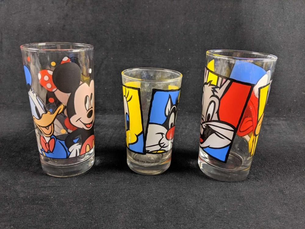 Lot 268: Set Of Three Anchor Hocking Disney and Looney Tunes Drinking Glasses