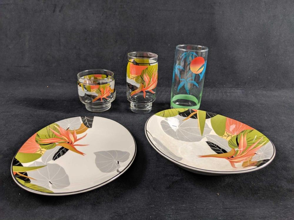 Lot 273: Lot Of Floral And Beach Sango Brand Drinking Glasses And Dinnerware