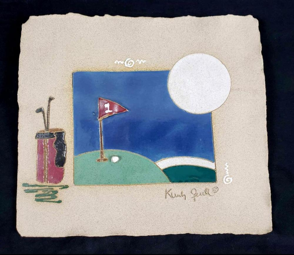 Lot 275: Signed Ceramic Tile Golf Wall Art Piece