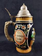 Lot 276: Ceramic German Beer Stein Raised Relief Bar Scene