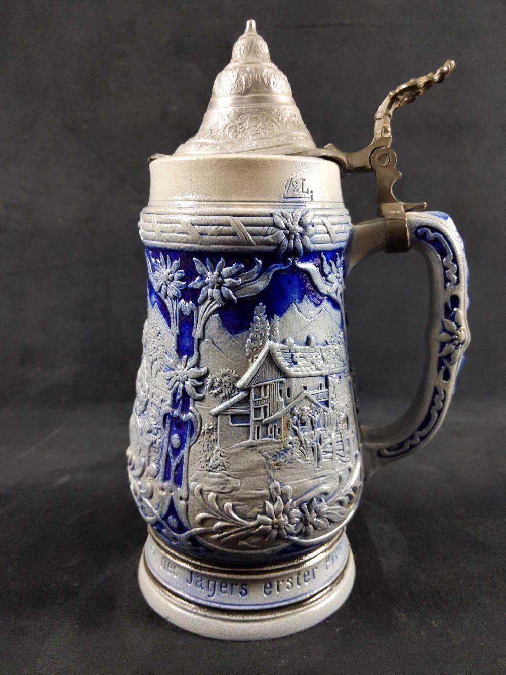 Lot 283: Lidded Stoneware German Mug Salt Glazed Cobalt Blue