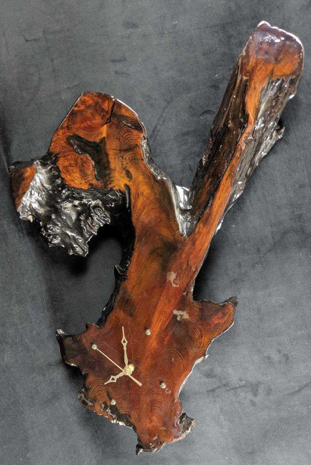 Lot 290: Unique Salavaged Decorative Redwood Handmade Clock