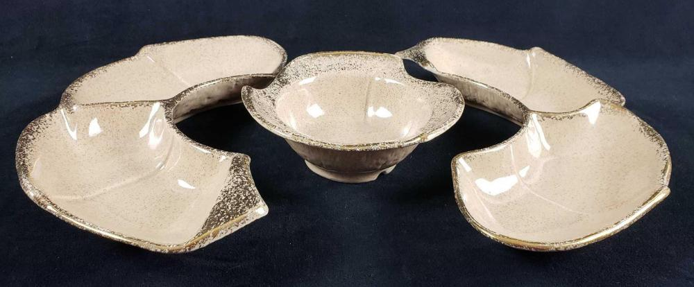 Lot 293: Mid Century Modern California Originals Divided Ceramic Chip and Dip Appetizer Platter