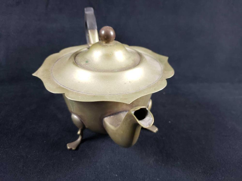 Lot 299: Vintage Small Size Footed Copper Teapot