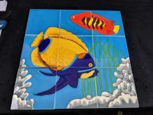 Lot 30: Modern Colorful Angel Fish Mosaic.