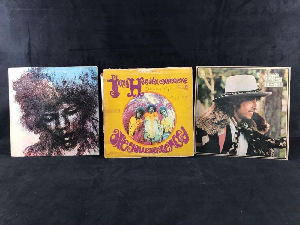 Lot 51: Vintage Jimi Hendrix Bob Dylan Vinyl Collection