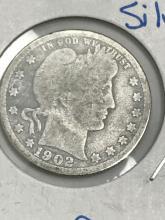 Lot 58: 1902-S Barber Quarter Silver Twenty-Five Cent Coin