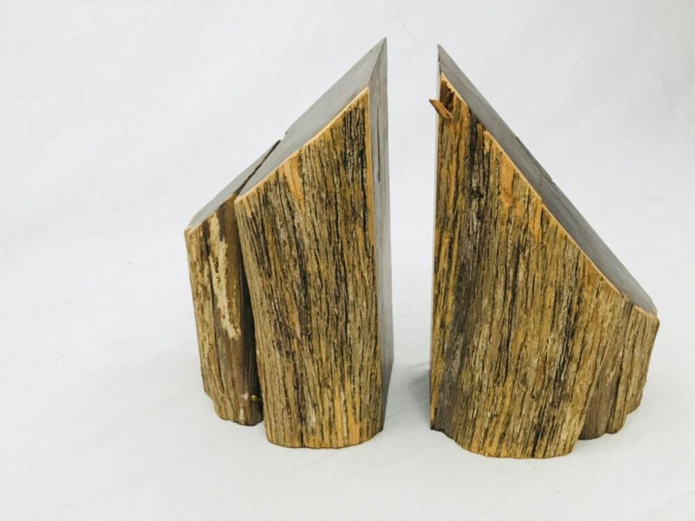 Pair of Vintage and Unique Exotic Hard Wood Bookends