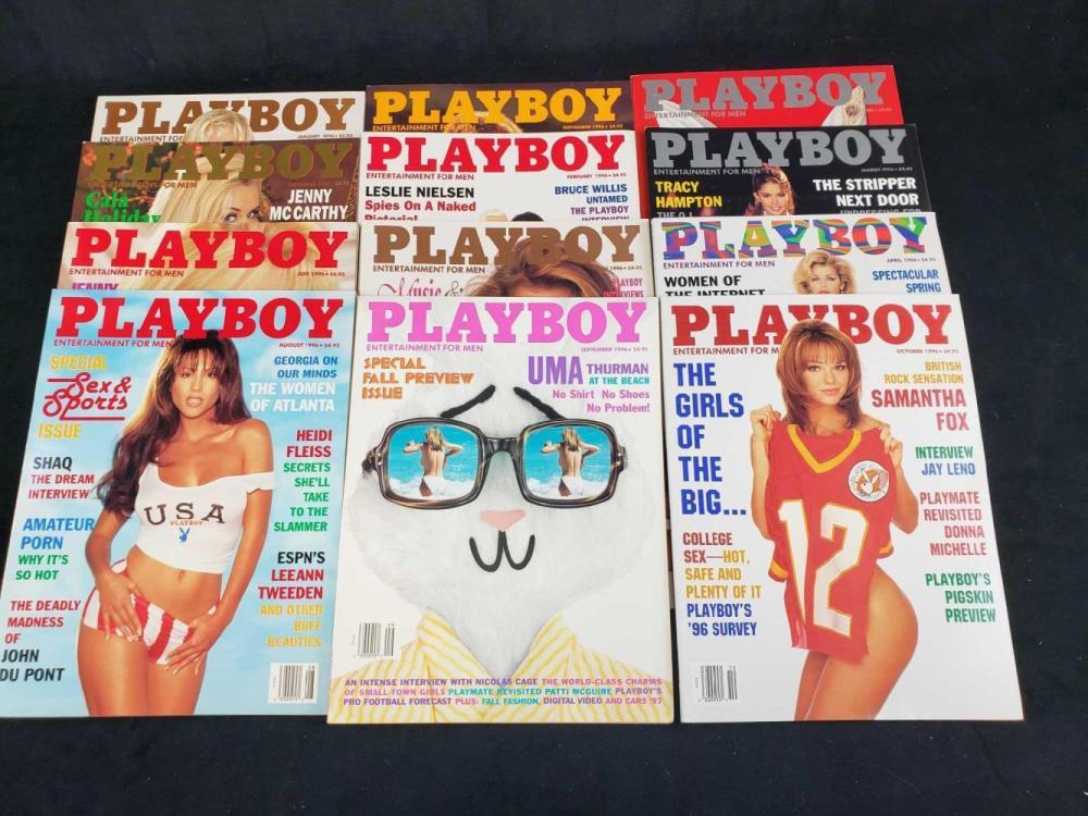 Lot 66: Twelve 1996 Playboy Magazines