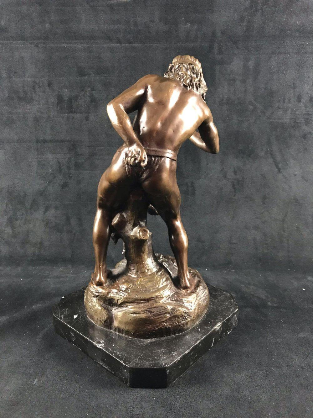 Lot 71: Vintage Bronze Sculpture of Bohemian Bear Tamer
