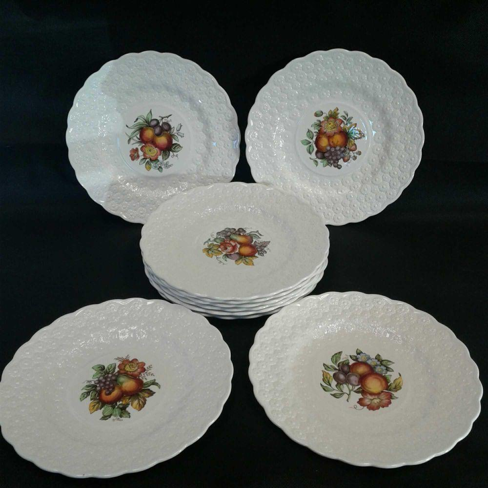 10 Floral Spode Plates
