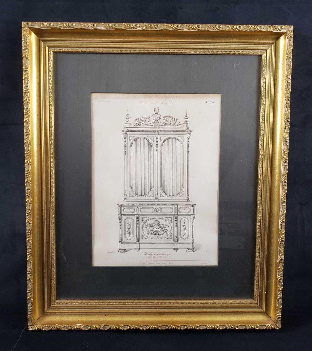 Desire Guilmard Le Garde Meuble Ancien et Moderne Framed French Decorative Art Lithograph