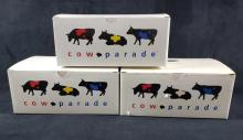 Lot 95: Lot of 3 Art Cow Parade Cow Figurines
